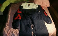 Vintage 90s FILA Puffer Puffy Winter Coat n Pair 90's Fila Snow Bibs both SZ M