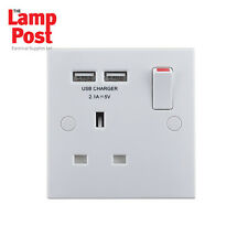 BG 921U2 - 1 Gang 13A Single Plug Socket with 2 x USB Charger