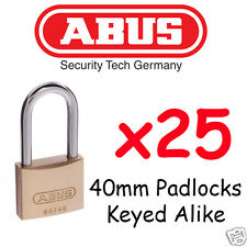 Padlocks x25  KEYED ALIKE ABUS 40mm with extended Shackle High quality BULK LOT
