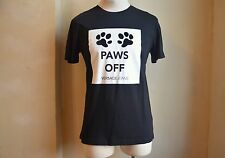 VERSACE JEANS AMAZING BLACK & WHITE SIGNATURE LOGO DOG PAWS OFF PRINT T SHIRT L