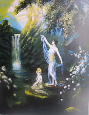 Parrish style woman waterfall Mountains Castle vintage art