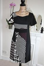 BNWT James Lakeland Black Burgundy Cream Tunic Shift Dress 8 10 Small