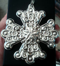 VERY LARGE Unusual Sterling Silver Christmas Cross Pendant - 1974  Reed & Barton