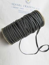 "10 Yards Vintage Tiny Rayon Blk/Gray Dot Ribbon Antique Doll 1/8"" Lampshade"