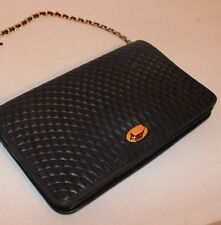 AUTH BALLY NAVY QUILTED LAMB LEATHER CHAIN STRAP SHOULDER BAG
