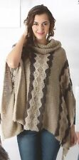 NWT Sacred Threads  Hand Knit Acrylic Roll Up Collar Poncho Sweater Jacket