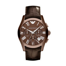 Emporio Armani AR1609 brown  Strap wine Dial Chronograph Wrist Watch for Mens