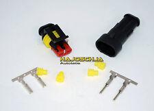 AMP Superseal  2 polig Stecker + Hülse Steckverbinder wasserdicht Dichtung gelb