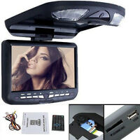 """Black 9"""" LCD Flip Down Roof Mount In Car Overhead Monitor IR DVD Player USB+ SD"""