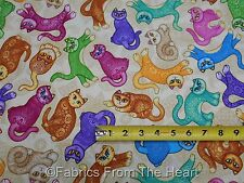 Neon Kitty Cats Kittens on Tans A Tale of Two Kittie BY YARDS QT Cotton Fabric
