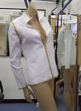 Joseph Ribkoff 10 BNWT Spectacular Stretch White, Gold Sequin Trim Zip-Up Jacket