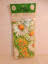 VINTAGE LADIES GOLF TOWEL NOS MATERIAL MID CENTURY DAISY NEW OLD STOCK SEALED