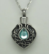 TEAR CREMATION URN NECKLACE BLUE CREMATION JEWELRY TEARDROP MEMORIAL KEEPSAKE