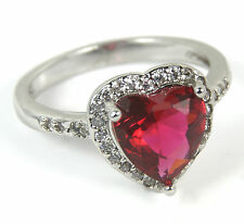 Women's 18 Carat White Gold plated Red heart crystal ring Jewellery UK Size N