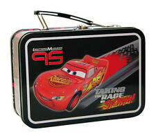Disney Pixar CARS LIGHTNING MCQUEEN EMBOSSED STORAGE TIN LUNCH TOTE BOX BAG NEW