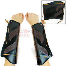Elven Windwalker Leather Bracers Pair Cosplay Cordura Armor Forearms
