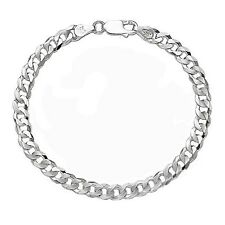 "8"" Pure Sterling Silver Italian 4mm Cuban Curb Link Chain Bracelet Mens Women's"