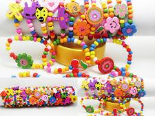 wholesale 50pcs wood wooden kids children's party birthday wristbands bracelets