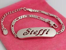 Steffi-Bracciale con nome - 18ct bianco placcato oro-regalo per lei-Fashion