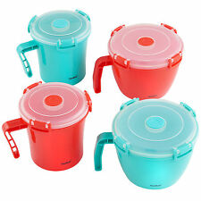 VonShef Microwavable Soup Mug Microwave Noodle Bowl Lunch Container Set of 4