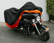 Motorcycle XXXL Orange Outdoor Indoor Cover Storage for Harley Street Glide