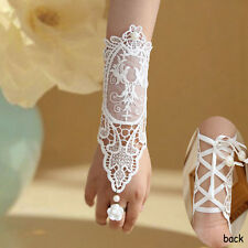 Flower Rose Lace Bride Bridal Wedding Ring Bracelet Set Long Glove Ribbon Gothic