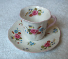 Shelley China England Rose and Red Daisy demitasse cup & saucer set~Dainty shape