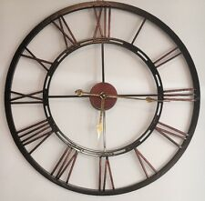 X Large Cut Out Black Copper Iron Metal Numeral Wall Clock NEW Kitchen BNIB