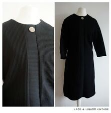 MOD vtg 1960s BLACK CRIMPLENE STRIPE DIAMANTE GEM EVENING SHIFT DRESS 14 16