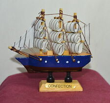 "New VINTAGE Nautical Wooden Wood Ship Sailboat Boat Home Model Decor 3.5"" #6"
