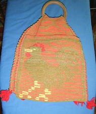 VINTAGE HANDMADE UNIQUE BOHO HIPPIE DOUBLESIDED WOODEN HANDLE BAG HOOKED