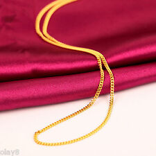 Fine Hot Pure Solid 999 24K Yellow Gold Chain Women Curb Link Necklace 16.5inch