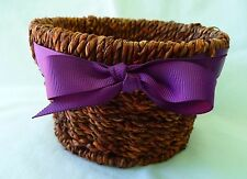 Small Brown Wicker Basket With Purple Ribbon & Bow