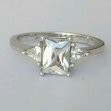 1.2 C 14k white  gold three stone triangle Emerald cut Engagement ring  S 6.5