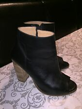 Black Real Leather Peep Toe Shoes Boots H&M Size 39 / 6 /Sold Out/ RRP £60