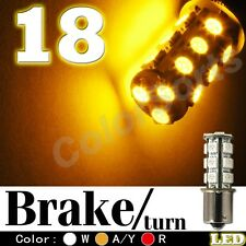 2 x Yellow 18-SMD LED Bulb 1156 3497 BA15S Rear Front turn signal Back up Stop