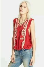 Free People Cherry Red Boho Embroidered Blouse Shirt Top $98 NWT ~ M