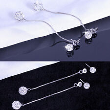 Women's Charm Rhinestone Long Chain Ball Drop Dangle Party Linear Earrings