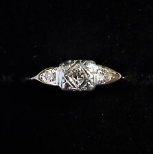 Antique Art Deco 9ct Gold, Platinum & Diamond Three Stone Ring, Size I