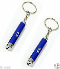 TWO BLUE LASER PEN POINTER BEAM LIGHT KEY 2 IN 1 CHAIN + LED FLASHLIGHT TORCH