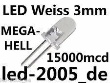 100 x LED Weiss 3mm,15000mcd,20mA,LED 3mm Weiß,LED 3mm White,Blanches,Witte,