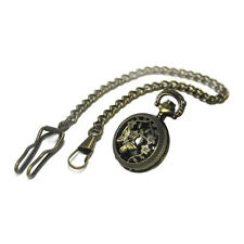 Steampunk Anyique Brass Fob Watch Locket with Clip on Chain