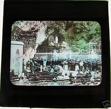 COLOUR Glass Magic lantern slide LOURDES GROTTO AND CROWDS C1900 FRANCE
