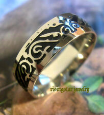 Men Trendy Embossed Tattoo Comfort Fit Stainless Steel Fashion Ring Size 14