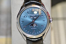 BAUME & MERCIER Clifton Blue Dial Moonphase Men's Watch 10057 Luxury ET Day Date