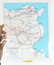 Antique Clear WWII Map TUNISIAN CAMPAIGN 1942, 19th French Army, Line of Contact