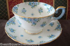 Crown Staffordshire, England,small blue flowers Pattern, cup and saucer, [4-49]