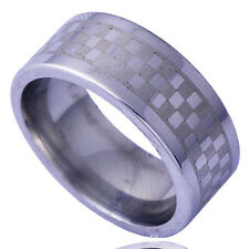 Classic Men's White Gold Filled Check Pattern Band Ring Size 8 Free Shipping