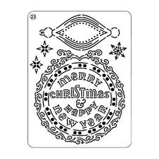 Pergamano Parchment Craft Mini Grid 23 - Merry Christmas Happy New Year Baubles