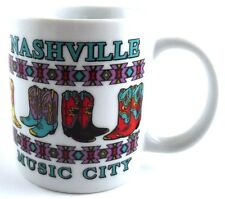 Nashville Music City Coffee Cup Mug Colorful Cowboy Boots TN Tennessee